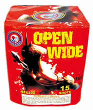 New product 1.4g un0336 fireworks and firecrackers OPEN WIDE 15 Shots Consumer Cake Fireworks for wholesale