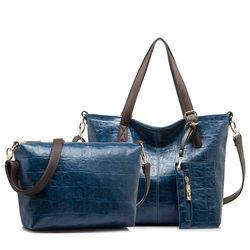 China wholesale guangzhou three-piece lash package neverfull bag lady woman PU leather handbag