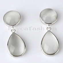 925 sterling silver earring,white silver earring studs women earrings agate