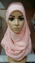 S044 Fashion Muslim Square Scarf Hijab with beads