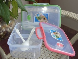 transparent 2 layers lunch box with fork and spoon