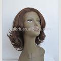 venta al por mayor venta caliente corto de color marrón oscuro pelucas de pelo sintético