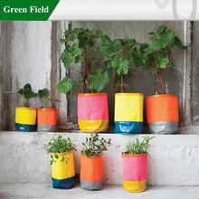 Green Field Canvas Flower Plant Planter, Colorful Spring Garden Flower Planter