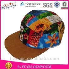 Custom 5 panel hat cap/ canvas 5 panel hat/ 5 panels suede brim hat