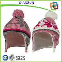Cheap jacquard snow 2014 cute earflap crochet beanies for girls