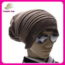 Men Warm Stripe Waves Beanie hat Men Knit Cap