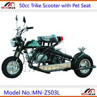 50cc Gasoline Trike Motorcycle Petrol Scooter Tricycle Scooter Motorcycle with CVT Clutch Automatic Gear with Pet Side Seat