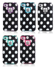 Cute Design POLKA White DOTS Hybrid Case Cover for iPhone 4