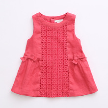 children girls bow dress/children girls lace dress/cotton girls dresses/waist bow dress