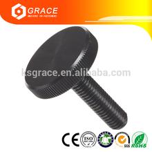 Flat Knurled Head Steel Black Oxide Thumb Screw