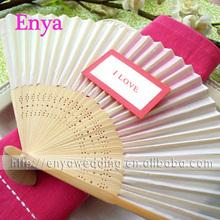 EYSF02 21cm White Wedding Silk Hand Fan