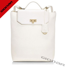 2014 fashion white classic backpack shape modern smooth pebbles leather