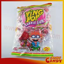 Super sour lollipop with bubble gum