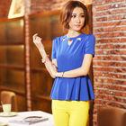 new model neck latest ladies chiffon blouses fashion 2014
