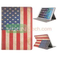 Fashion USA Flag Design Card Slot Stand For ipad 5 Leather Case