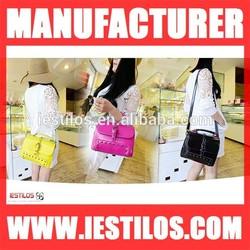 Colorful fashion latest ladies handbags wholesale china rivet college student shoulder bag