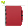 RED color Recycled PP cover cheap paper notebook with pen