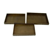 Golden shell design faux leather tray, wood leather tray