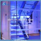 Interior glass tread straight stair double stringer glass balustrade