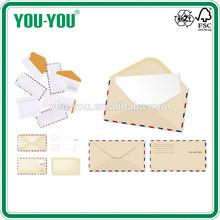 Factory customized air mail envelopes, white offset paper envelopes