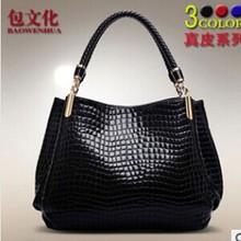 Genuine leather handbags 2014 new European and American crocodile pattern leather handbags leather laptop shoulder bag lady