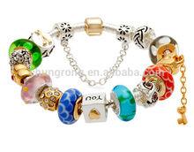 murano glass beads stainless steel bracelet charm, old silver beads bracelet