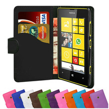 PU Leather Pouch Case Side Flip Cover Wallet for Nokia Lumia 520