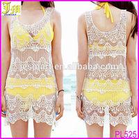 Very Hot Sale Women Lady Girls Sexy Hollow Crochet Sleeveless Swimwear Bikini Cover Up Beach Dress