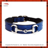 Top layer blue leather dog collar