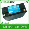 12V 20ah optimumnano rechargeable battery pack for golf cart/camper trailer