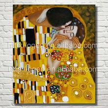 famous artist Klimt The Kiss (Luxury Line) oil painting reproduction for sale art for bedroom dec.