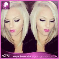 Cheap Short straight bob wig blonde #613 Side bang full lace human hair wig for women Brazilian virgin hair