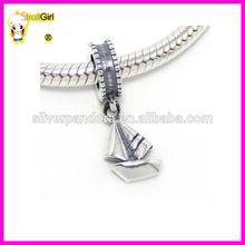 Silver Dangling Sailboat Charm Bead for Snake Chain Charm Bracelets