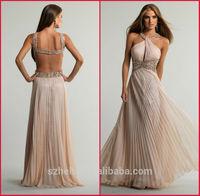 JM.Bridals CW2662 Shiny beaded 2014 summer halter neck backless chiffon evening dress online shopping