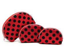 Red Circle Dot Printing Three Pieces One Set Semi Round Cosmetic Bag Storage Holder Toiletry Bag