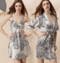 Printed sexy silk sleepwear,silk pajamas suits with two pics
