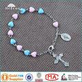 A buon mercato nuovo cuore- perline di plastica bracciali rosario fatti a mano