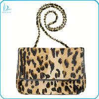 High quality genuine horse hair print leopard shoulder bag