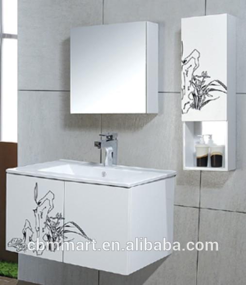 Modern branco armários de banheiro de PVC  banheiro espelho  armário de ban -> Armario Para Banheiro Pvc