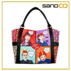 Women's printed custom wholesale plastic made shopping bags