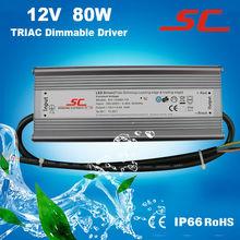 12V/24V/36V/48V 80W dimmable led transformer, outdoor or indoor used ac/dc transformer for led lights