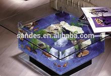 Costom Pure Unique Simple Perspex Acrylic Aquarium Coffee Table