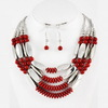 2014 fashion necklace red acrylic and silver ccb beaded necklace american indian jewelry ethnical necklace