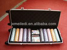 1000pcs chips Wooden Batten or Blister box Professional Casino aluminum poker case