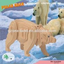 White Bear 3-D Puzzle Wood Craft Construction Kit Yosemite National Park New!