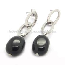 Single black stone earrings designs stainless steel fashion jewelry dangling earrings LE2561