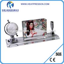 Sublimation blank Photo Crystal Globe& Pen Holder Set for gift