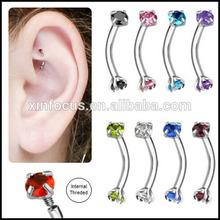 16 gauge body jewelry 316L internally threaded surgical steel unique rook earrings
