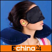 Travel Set Inflatable Neck Air Cushion Pillow +Cotton Eye Mask + 2 Ear Plug