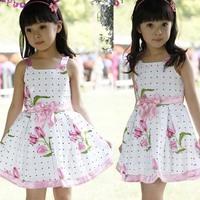 Tap1032 china made Hefei kids dress sleeveless puffy flower baby girls dresses 2014